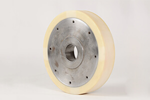 "Drive wheel ""RBG""-new coating and grinding for unit; coating d.: 316 x Core d.:260 x 62 lg; Vulkollan, 92 Shore"