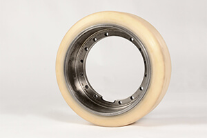 "Drive wheel ""FTF""-new coating and grinding for unit; AØ:275 x Core-Ø:216 x 100 lg; Vulkollan, 92 Shore"